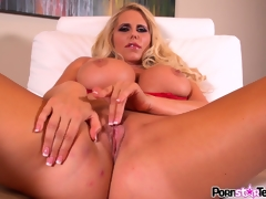 Large tit blonde Karen Fisher spreads wide to get at her cunt and rub