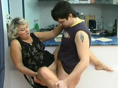 Impure mature chick knows how to please younger dude in suck-n-fuck action