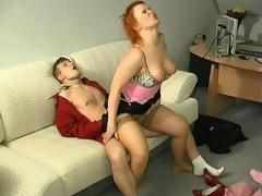 Sultry milf kneeling down to show her sucking skills after hot muff-diving