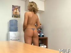 blonde cuttie pie has an office fuck with a toy