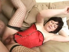 Saggy Titted Brunette Mature Acquires Her Curly Pussy Banged and Jizzed On