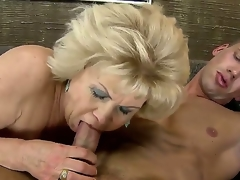 Blonde granny gets nailed with a huge youthful throbbing jock after giving an awesome head