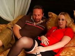 Arousing golden haired milf acquires her big marangos touched by a naughty and turned on lad