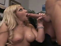 Billy Glide is one hard-dicked stud who can't live without oral sex with Golden-haired with biggest hooters and bald snatch