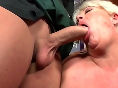 Watch this hot granny drops to her knees and sucks young cock like a boss. Did I mention shes pleasantly plump Well, she sure as fuck is, friendos. So, have at it: click play!