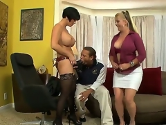 Joclyn Stone and Shay Fox are tired of lesbo sex and they have invited Chris, because they like to play with him. Chris is a strange dude and he prefers to swallow huge dildos