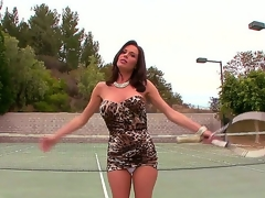 Its vulva spelled backwards and thats why we know were going to get a hot and wet time with Milf star Veronica Avluv as she comes in from her tennis game and cums.