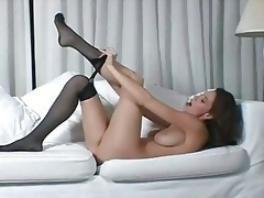 Busty brunette hair MILF in darksome pantyhose