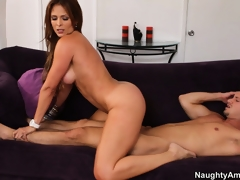 Monique Fuentes lets fuckmate marvel at her ass during reverse cowgirl sex