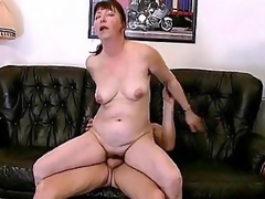 Horny bbw Miranda is always in for some good fucking. Her husband came home from work late, but instead of scolding him she welcome him by working his cock with her mouth. She then begins climbing on top of his lap and humped it with her dripping cooze.